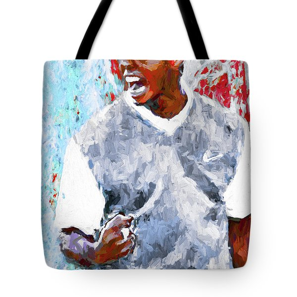 Tote Bag featuring the photograph Tiger Woods One Two Red Painting Digital by David Haskett