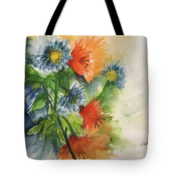 Tigerlilies And Cornflowers Tote Bag by Lucia Grilletto