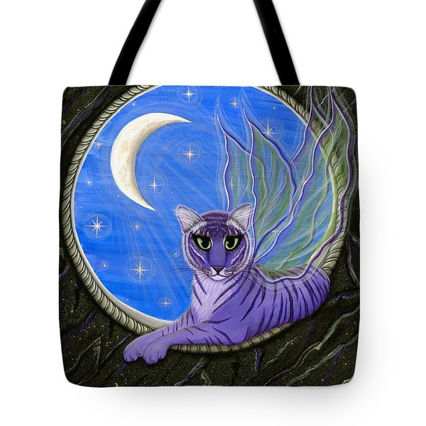 Tigerpixie Purple Tiger Fairy Tote Bag