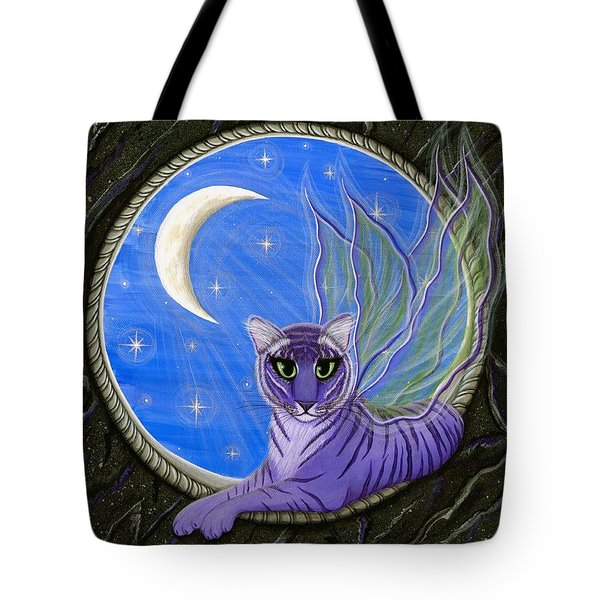 Tote Bag featuring the painting Tigerpixie Purple Tiger Fairy by Carrie Hawks