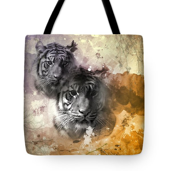 Tote Bag featuring the photograph Tigers  by Elaine Manley