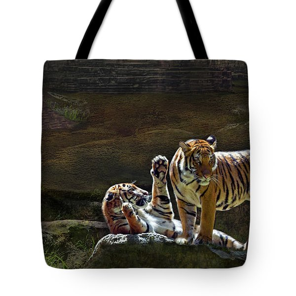 Tigers In The Night Tote Bag