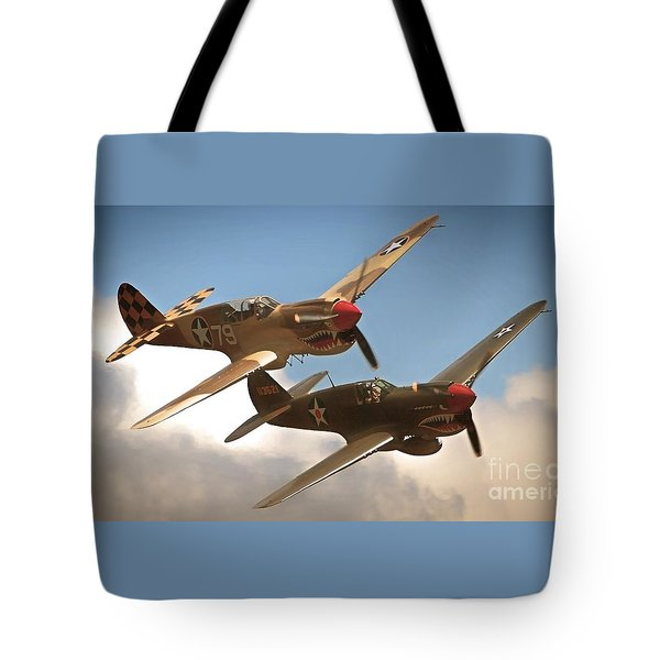 Tigers On The Prowl P-40 Warhawks Tote Bag