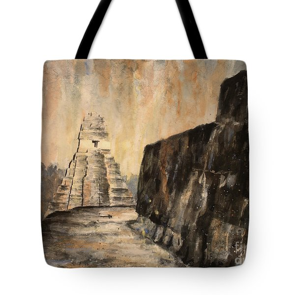 Tote Bag featuring the painting Tikal Ruins- Guatemala by Ryan Fox