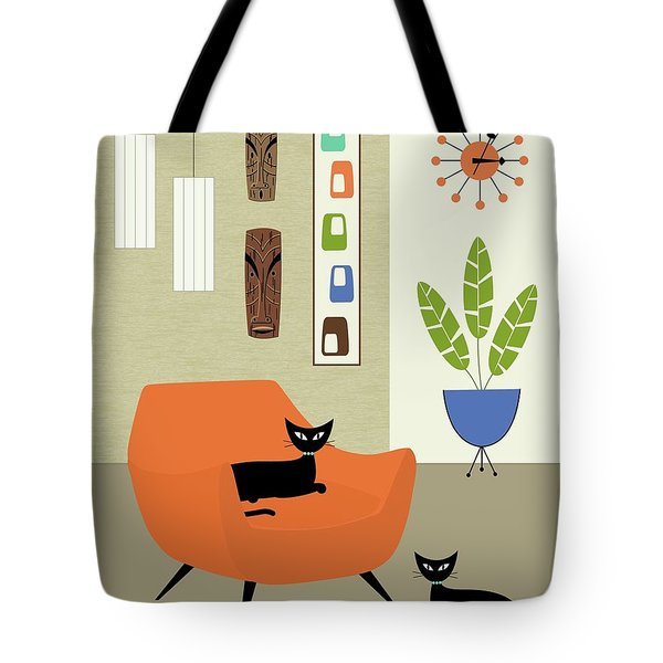 Tote Bag featuring the digital art Tikis On The Wall by Donna Mibus