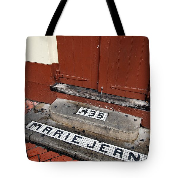Tile Inlay Steps Marie Jean 435 Wooden Door French Quarter New Orleans Tote Bag