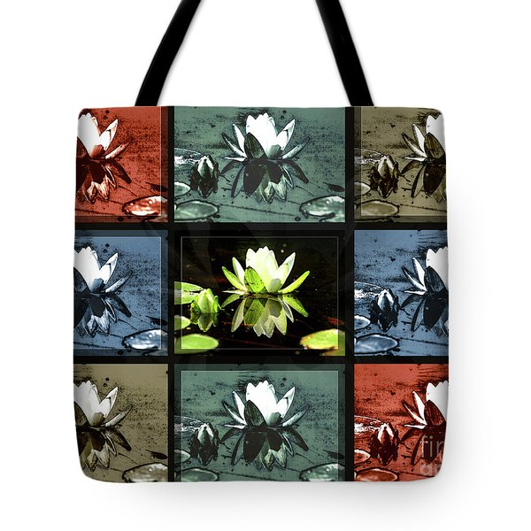 Tiled Water Lillies Tote Bag
