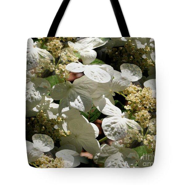 Tiled White Lace Cap Hydrangeas Tote Bag