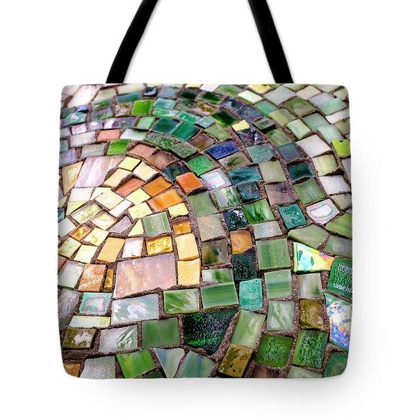 Tiles In Green Blue And Gold In Savannah Georgia Tote Bag