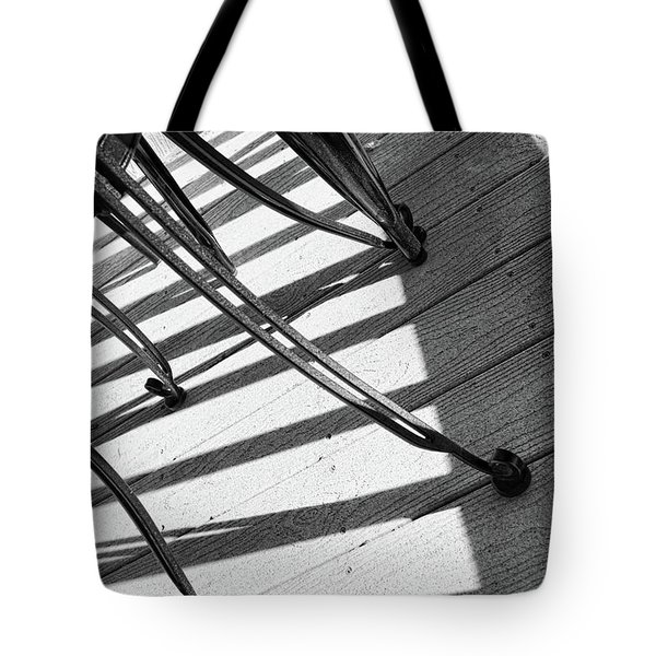 Tote Bag featuring the photograph Tilt Two Black And White Photograph by Ann Powell