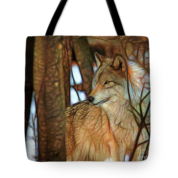 Timber Wolf Colorful Art Tote Bag