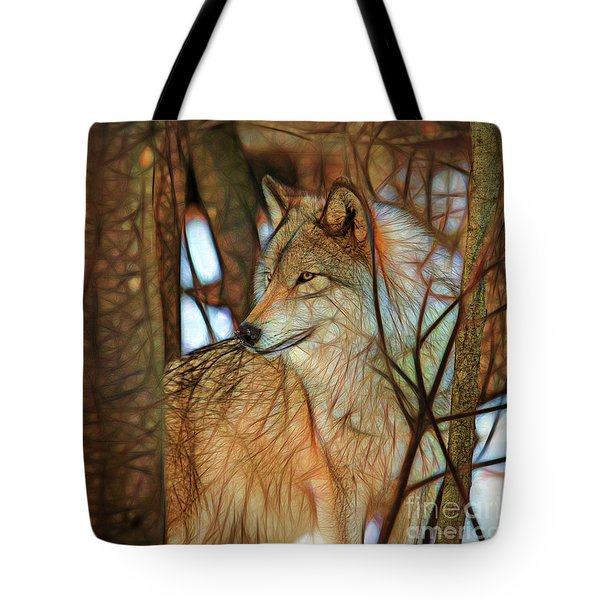 Timber Wolf Colorful Art Tote Bag by Eleanor Abramson