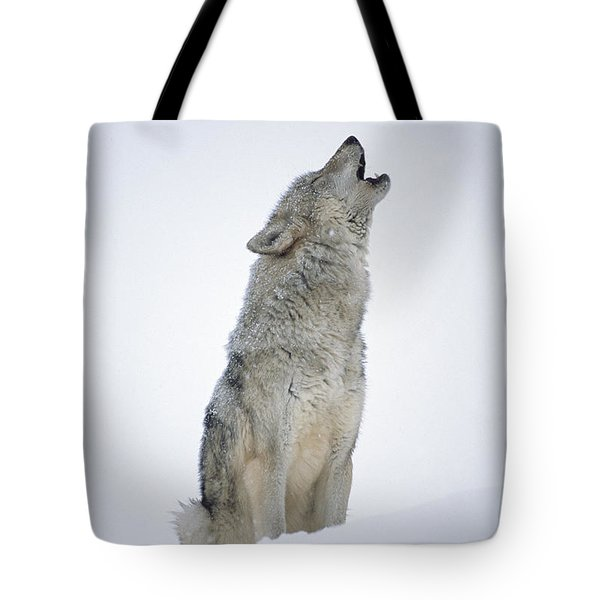 Timber Wolf Portrait Howling In Snow Tote Bag