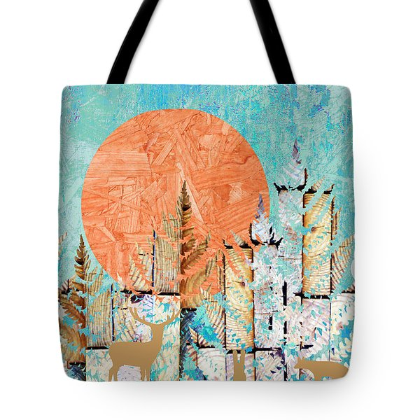 Tote Bag featuring the photograph Timberland Forest Scenic With Stag Deer Owl In Blue by Suzanne Powers