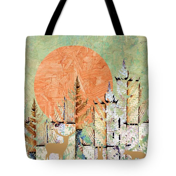 Tote Bag featuring the photograph Timberland Forest Scenic With Stag Deer Owl In Green by Suzanne Powers