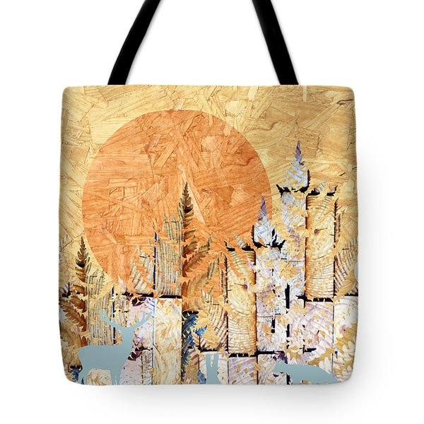 Tote Bag featuring the photograph Timberland Forest Scenic With Stag Deer Rabbit Owl I by Suzanne Powers