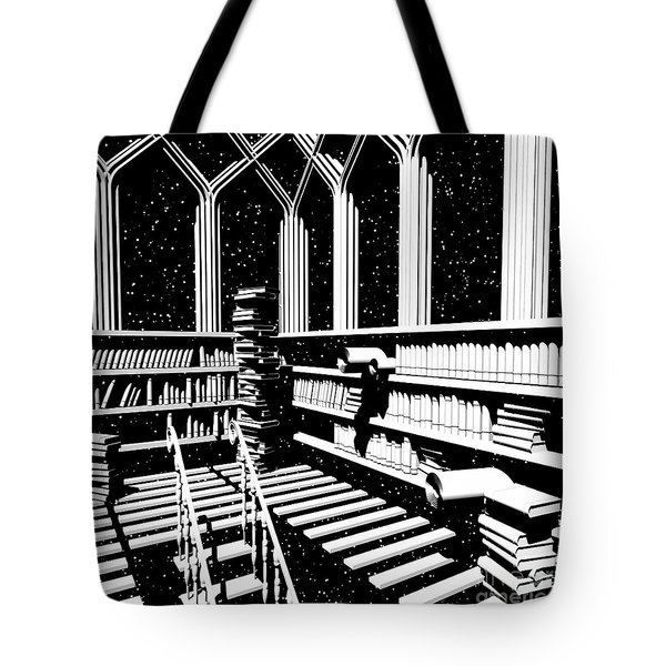 Tote Bag featuring the digital art Time Aerials Mind Library by Russell Kightley