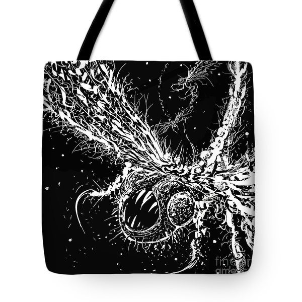 Tote Bag featuring the digital art Time Aerials Squamafly Woodcut by Russell Kightley
