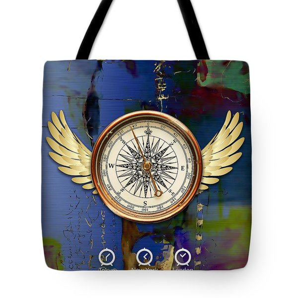 Tote Bag featuring the mixed media Time Flies by Marvin Blaine