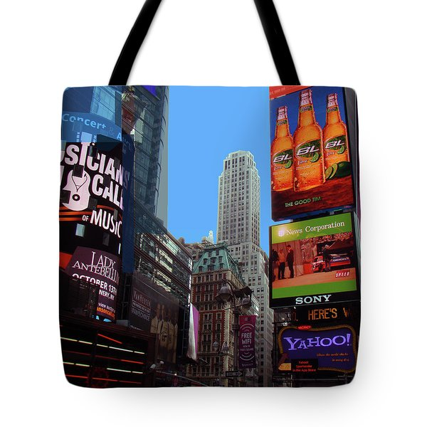 Tote Bag featuring the photograph Times Square 2 by Walter Fahmy