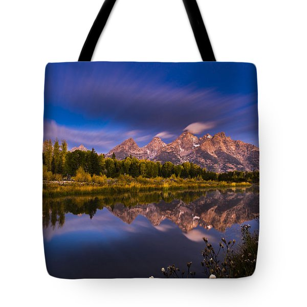 Time Stops Over Tetons Tote Bag by Edgars Erglis
