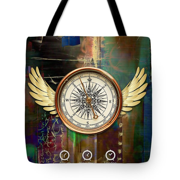 Tote Bag featuring the mixed media Time To Fly by Marvin Blaine