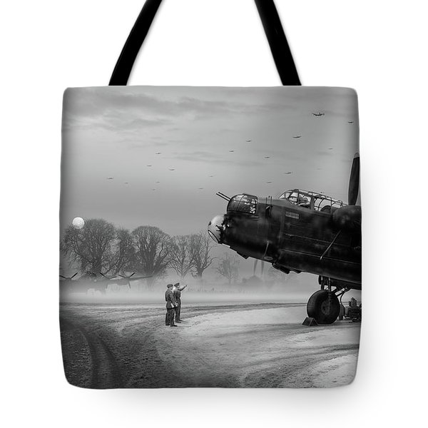 Tote Bag featuring the photograph Time To Go - Lancasters On Dispersal Bw Version by Gary Eason
