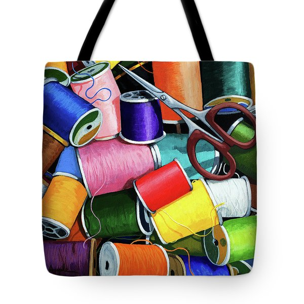 Tote Bag featuring the painting Time To Sew - Colorful Threads by Linda Apple