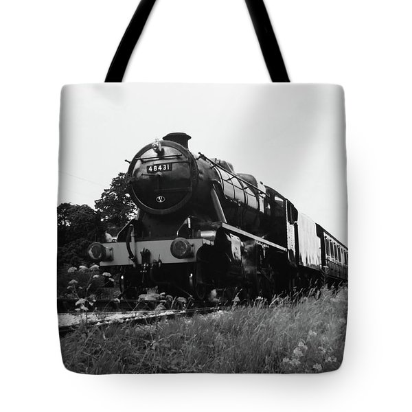 Tote Bag featuring the photograph Time Travel By Steam B/w by Martin Howard