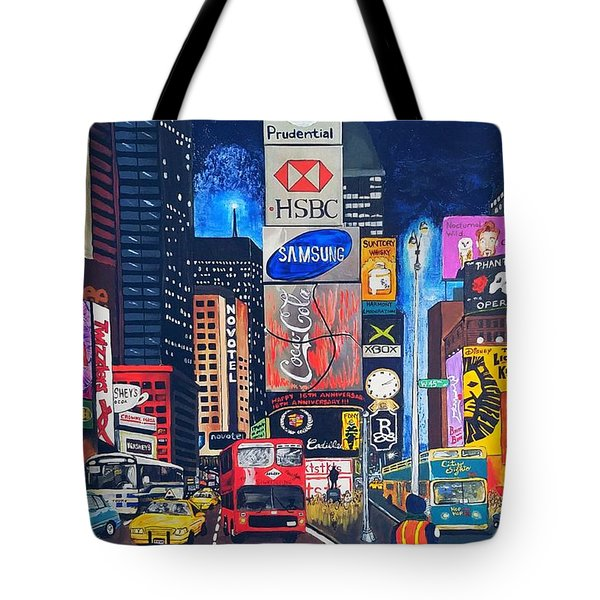Times Square Tote Bag by Autumn Leaves Art