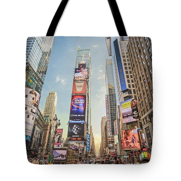 Tote Bag featuring the photograph Times Square Hustle by Ray Warren