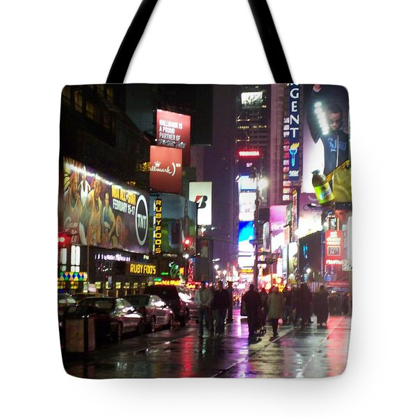 Times Square In The Rain 1 Tote Bag by Anita Burgermeister