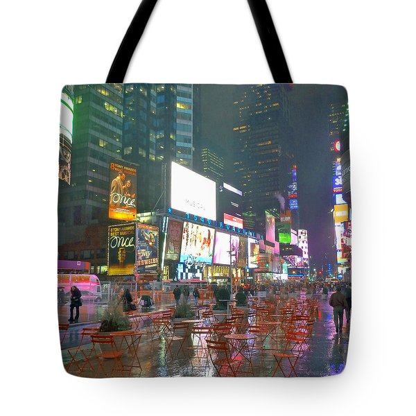 Times Square Red Rain Tote Bag by Jeffrey Friedkin