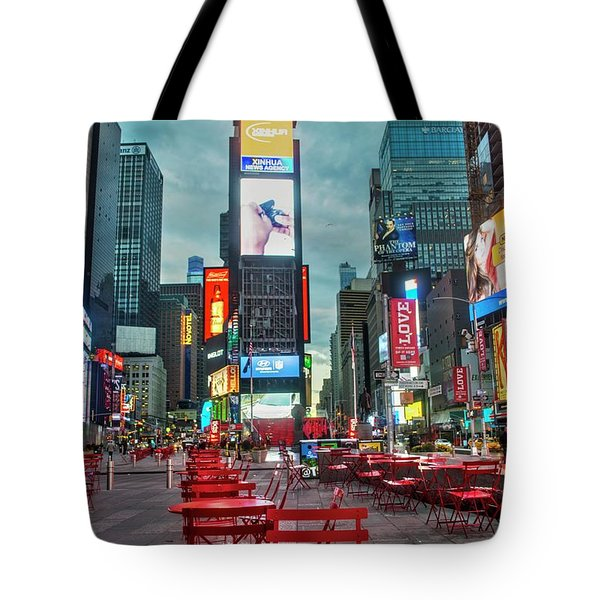 Tote Bag featuring the digital art Times Square Tables by Timothy Lowry