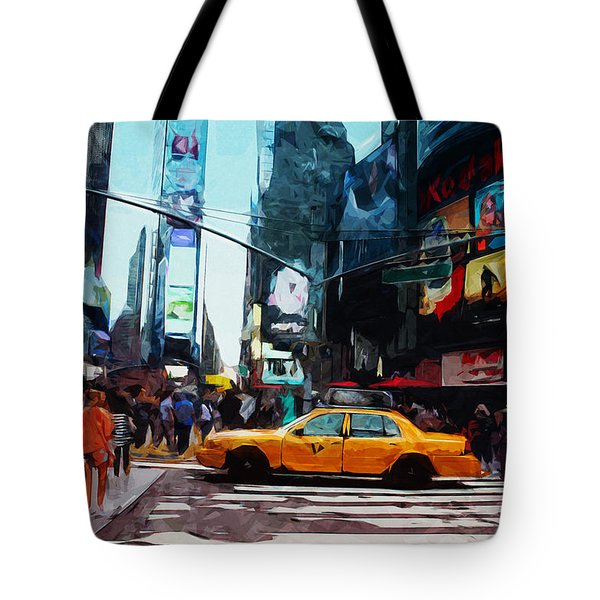 Times Square Taxi- Art By Linda Woods Tote Bag by Linda Woods