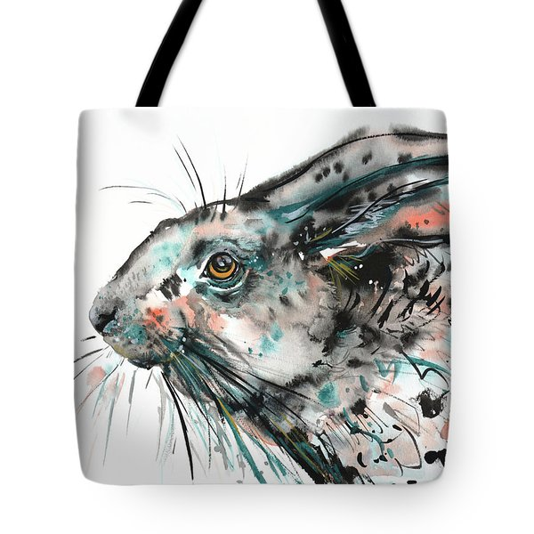 Tote Bag featuring the painting Timid Hare by Zaira Dzhaubaeva