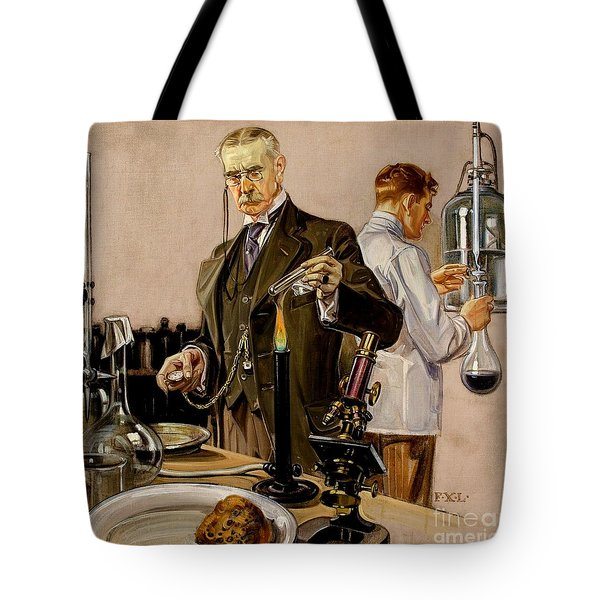 Tote Bag featuring the painting Timing An Experiment Frank Leyendecker 1910 by Peter Gumaer Ogden