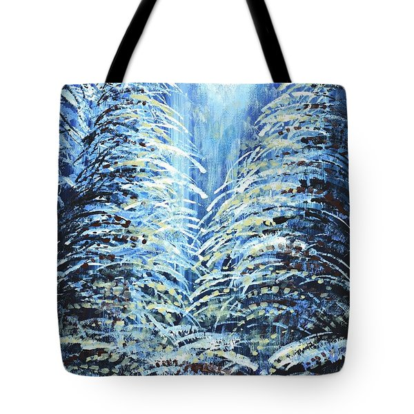 Tote Bag featuring the painting Tim's Winter Forest by Holly Carmichael