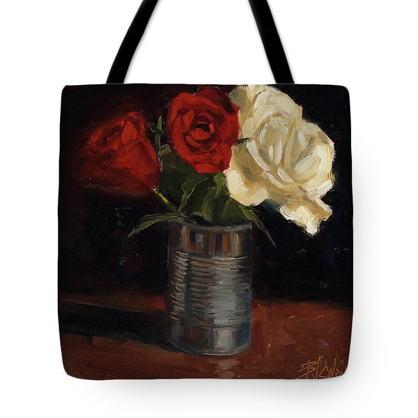 Tote Bag featuring the painting Tin Can Love by Billie Colson