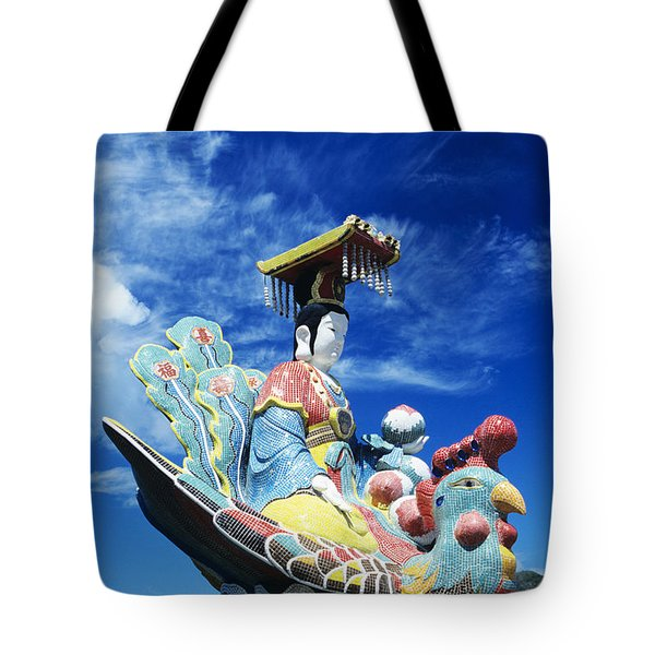 Tin Hua Temple Closeup Of Colorful Statue Tote Bag by Gloria and Richard Maschmeyer - Printscapes