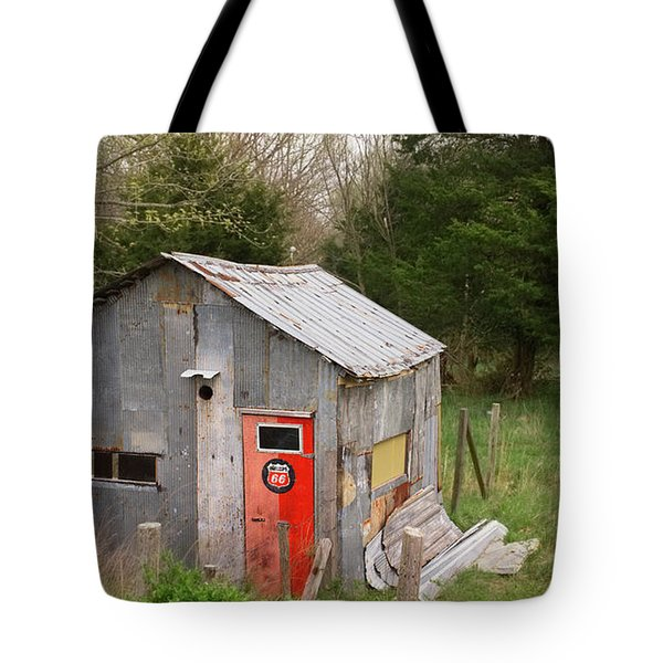 Tin Phillips 66 Shed Tote Bag by Grant Groberg