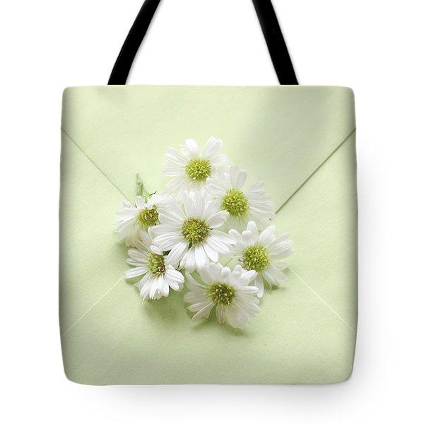 Tiny Daisies On Green Envelope Tote Bag