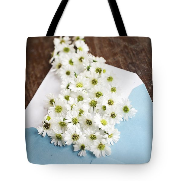 Tiny Daisies Spilling From Blue Envelope Tote Bag
