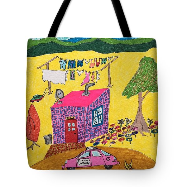 Tiny House With Clothesline Tote Bag