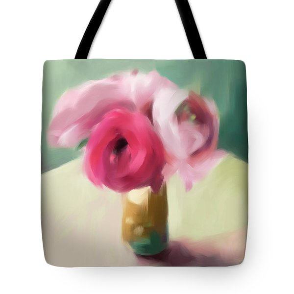 Tiny Pink Ranunculus Floral Art Tote Bag by Beverly Brown