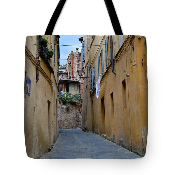 Tiny Street In Siena Tote Bag