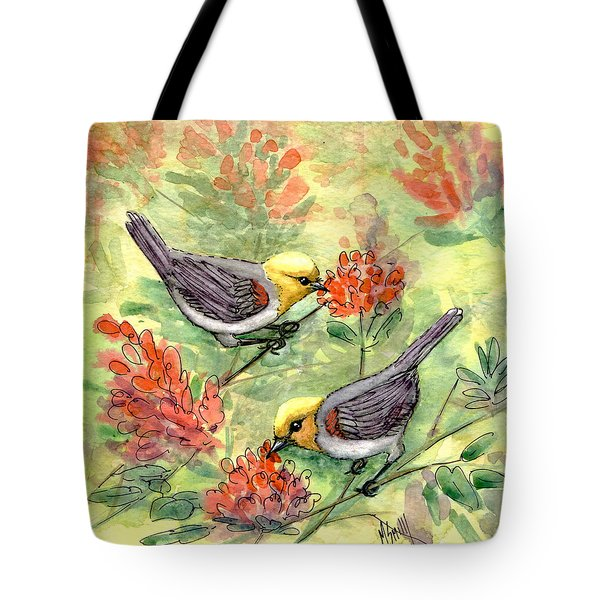 Tote Bag featuring the painting Tiny Verdin In Honeysuckle by Marilyn Smith