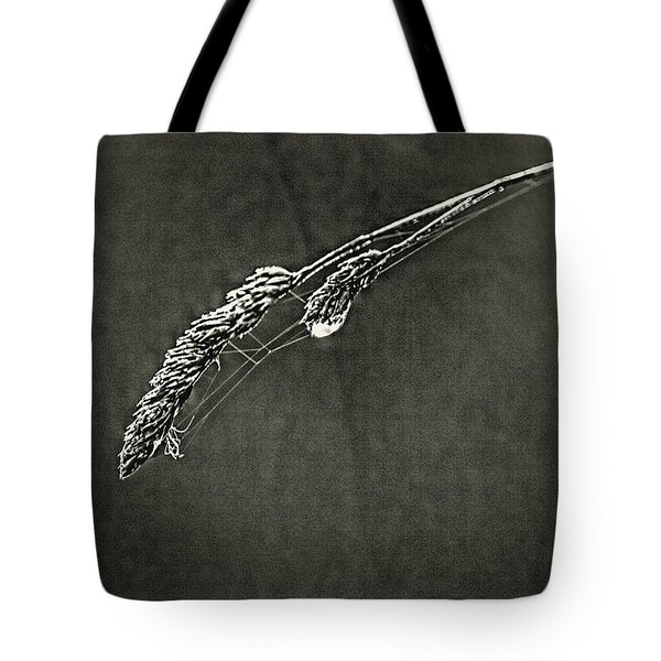 Tiny Web On Bent Grass Tote Bag