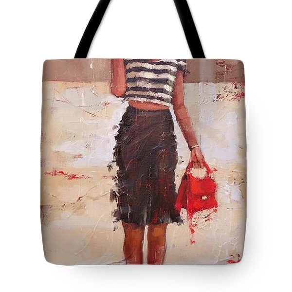 Tote Bag featuring the painting Tip Toe by Laura Lee Zanghetti