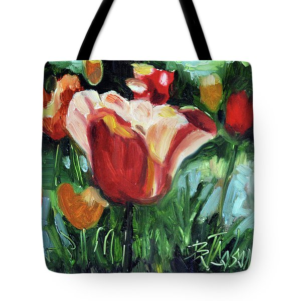 Tote Bag featuring the painting Tip Toe Thru The Tulips by Billie Colson
